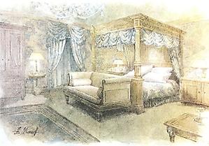 045 Эскиз интерьера спальни